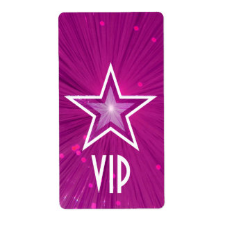 Pink Star 'VIP' label large white text
