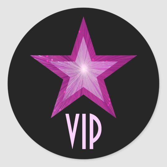 Pink Star VIP round sticker black