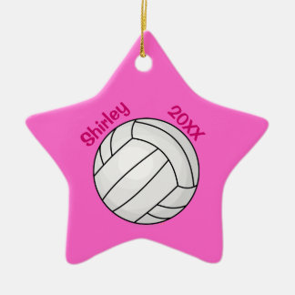 Pink Star Volleyball Christmas Tree Ornament