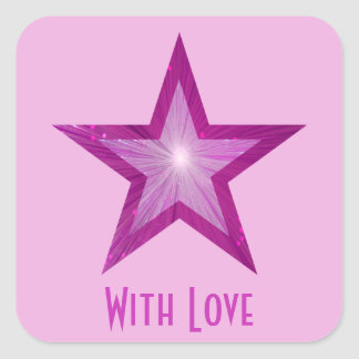 Pink Star 'With Love'' square sticker pale pink