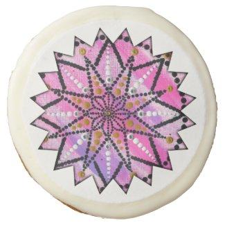 Pink Starburst Floral Mandala, artsy cookies
