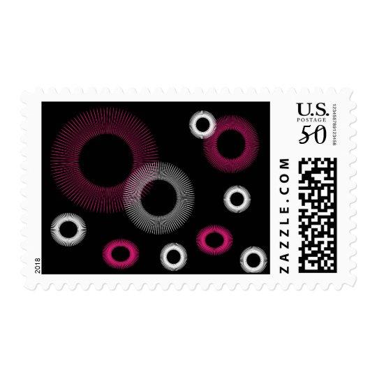 pink starburst postage stamp