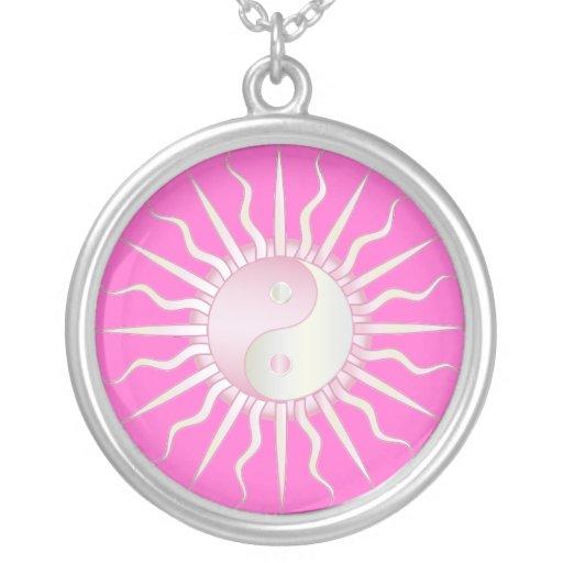 Pink Starburst Yin Yang Round Pendant Necklace