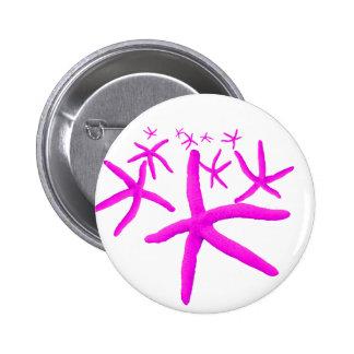 pink starfish 2 inch round button