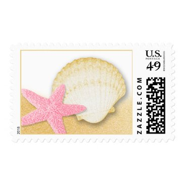 Beach Themed Pink Starfish and Golden Seashell Sparkle Beach Postage