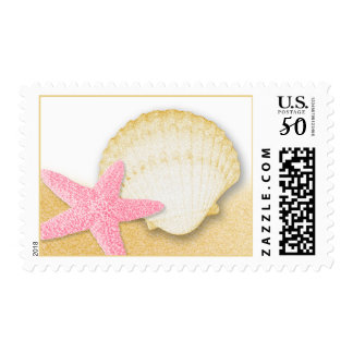 Pink Starfish and Golden Seashell Sparkle Beach Postage