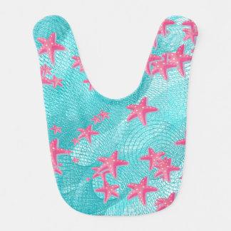 Pink starfish baby bib