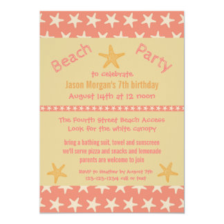 Pink Starfish Beach - Birthday Party Invitation