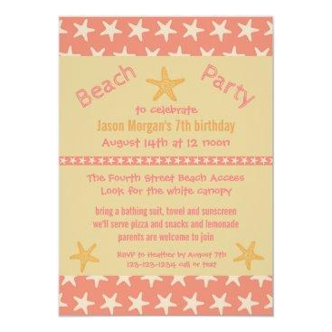 Beach Themed Pink Starfish Beach - Birthday Party Invitation