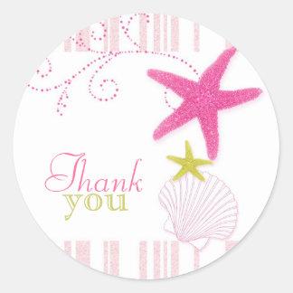 Pink Starfish Beach Wedding Thank You Classic Round Sticker