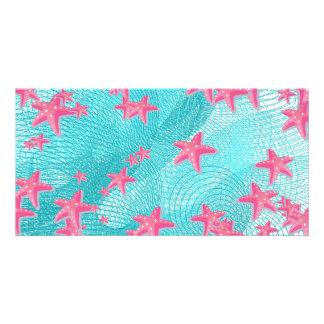 Pink starfish card