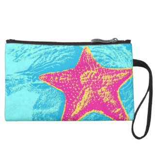 Pink Starfish in Teal Water Suede Wristlet