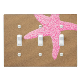 Pink Starfish on Beach Sand Light Switch Cover