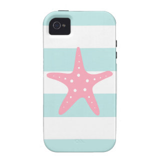 Pink Starfish on Mint Stripes iPhone 4 Cases