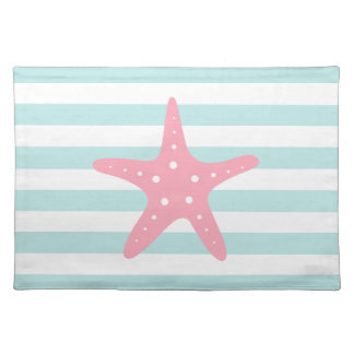 Pink Starfish on Mint Stripes Pattern Cloth Placemat
