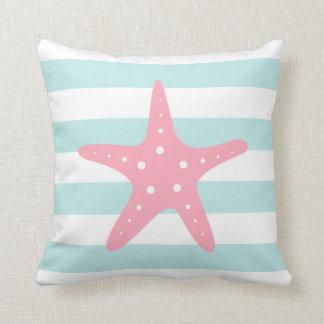 Pink Starfish on Mint Stripes Throw Pillow