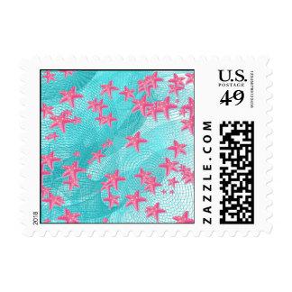 Pink starfish postage