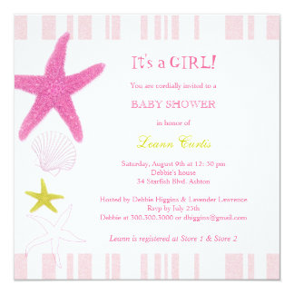 Pink Starfish, Stripes Nautical Baby Shower Card