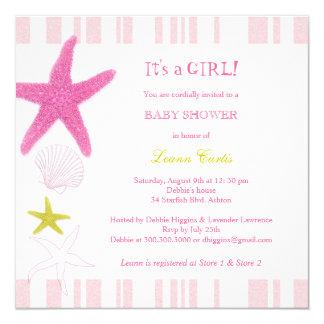"Pink Starfish, Stripes Nautical Baby Shower Invite 5.25"" Square Invitation Card"