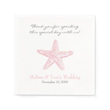 Beach Themed Pink Starfish Wedding or girl Baby Shower napkins