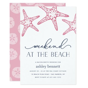 Beach Themed Pink Starfish | Weekend at the Beach Invitation
