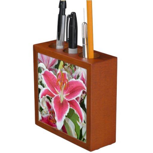 Pink stargazer lilies desktop organizer desk organizer - Pink desk organizer ...