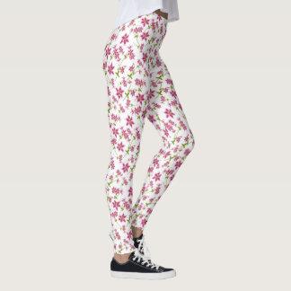 Pink Stargazer Lilies Floral Leggings
