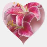 Pink Stargazer Lilies Heart Sticker
