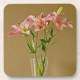 Pink Stargazer Lilies in Vase Beverage Coasters
