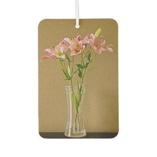 Pink Stargazer Lilies in Vase Car Air Freshener