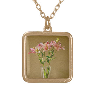 Pink Stargazer Lilies in Vase Personalized Necklace