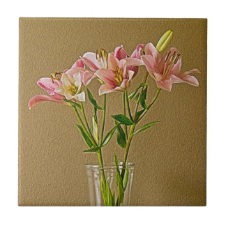 Pink Stargazer Lilies in Vase Tile