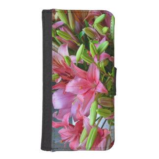 Pink stargazer lilies iPhone SE/5/5s wallet