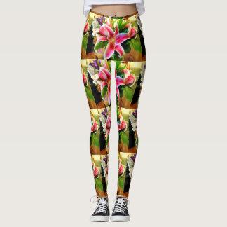 pink stargazer lilies leggings