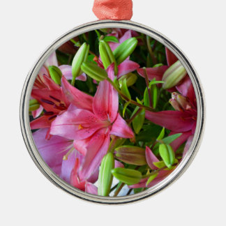 Pink stargazer lilies metal ornament