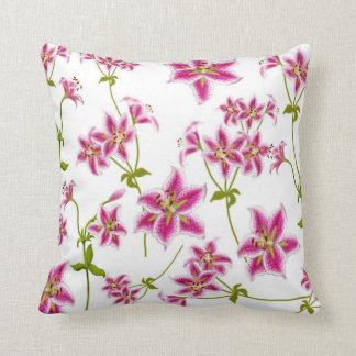 Pink Stargazer Lilies Pillow