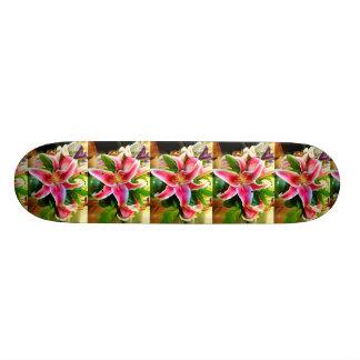 pink stargazer lilies skateboard