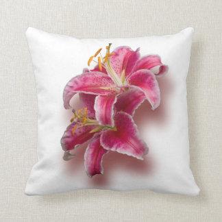 Pink Stargazer Lilies Throw Pillow