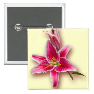 Pink Stargazer Lily and Bud Pinback Button