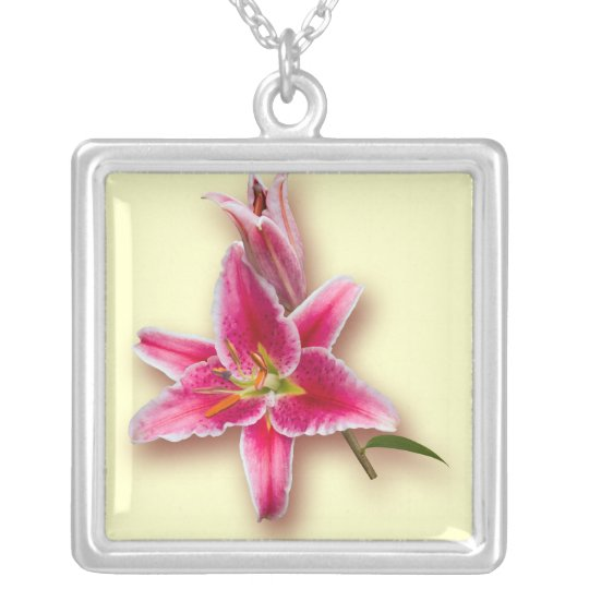 Pink Stargazer Lily and Bud Silver Plated Necklace