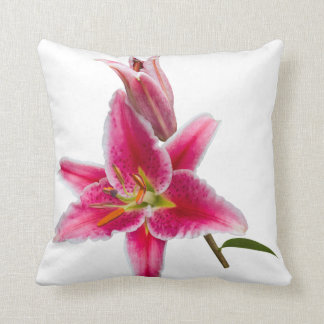 Pink Stargazer Lily and Bud Throw Pillow
