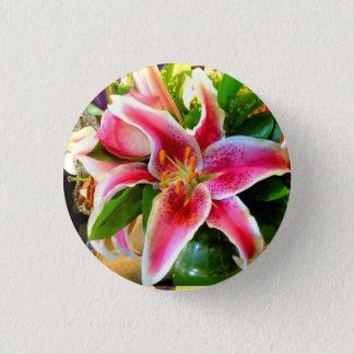 pink stargazer lily button