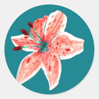 Pink Stargazer Lily Classic Round Sticker