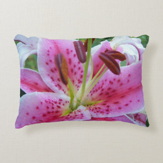 Pink Stargazer Lily Floral Decorative Pillow