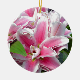 Pink stargazer lily flowers in spring ceramic ornament