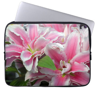 Pink stargazer lily flowers laptop sleeve