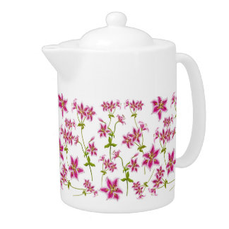 Pink Stargazer Lily Flowers Teapot
