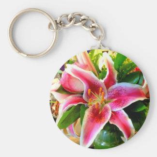 pink stargazer lily keychain basic round button keychain