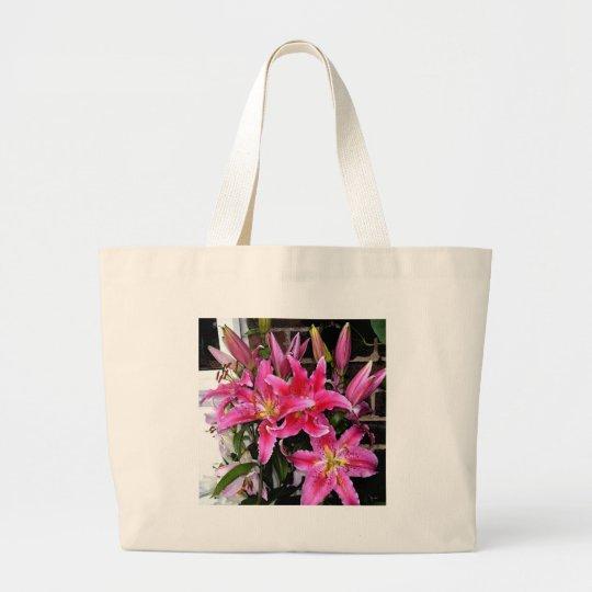 Pink Stargazer Lily Large Tote Bag