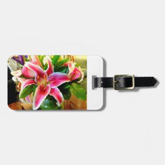 pink stargazer lily luggage tag